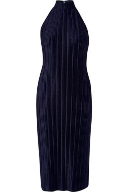 River Island navy plisse high neck bodycon dress