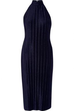 River Island navy plisse high neck bodycon dress