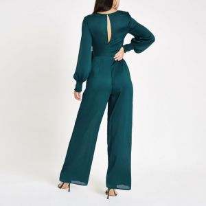 cf6c5b30492 River Island Turquoise wrap front wide leg jumpsuit Green