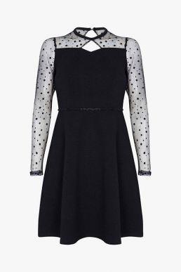 Yumi Spotted Mesh Skater Dress Black