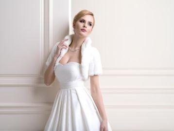 Lacey Bell Womens Mink Faux Fur Bridal Wedding Jacket Bolero with Collar Ivory FFJ-44