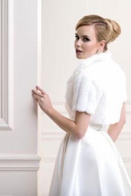 Lacey Bell Womens Mink Faux Fur Bridal Wedding Jacket Bolero with Collar Ivory FFJ-44