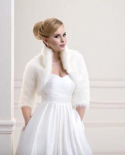 Lacey Bell Womens Fox Faux Fur Bridal Wedding Jacket Bolero Ivory FFJ-57