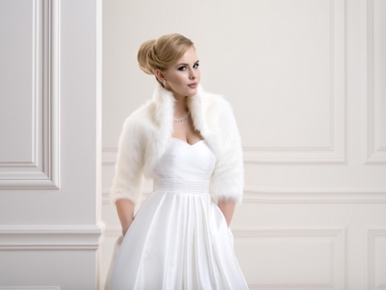 Lacey Bell Womens Fox Faux Fur Bridal Wedding Jacket Bolero Ivory FFJ-57