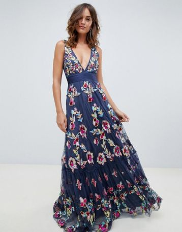 A Star Is Born embellished floral prom plunge maxi dress multi blue