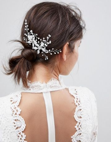 ASOS DESIGN Bridal hair comb with leaf and crystals