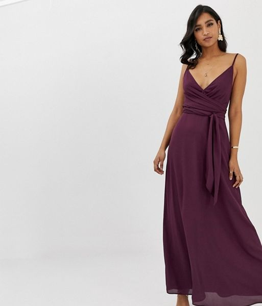 8eb90c69f8c5 ASOS DESIGN cami wrap maxi dress with tie waist, Purple ...