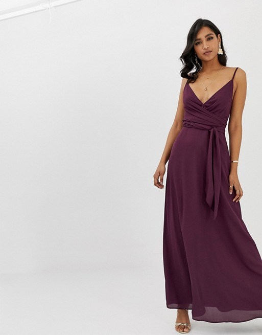 426b26ca919 ASOS DESIGN cami wrap maxi dress with tie waist, Purple   myonewedding.co.uk