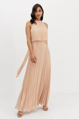 ASOS DESIGN halter tie neck maxi dress in pleat nude neutral