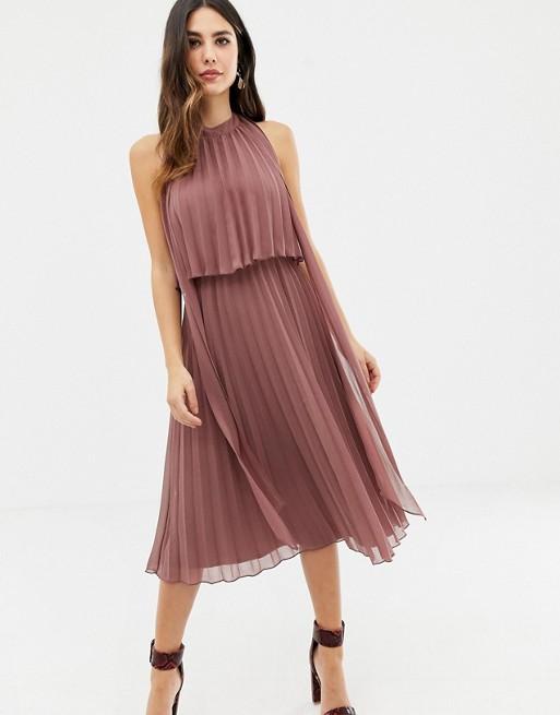 the latest best wholesaler full range of specifications ASOS DESIGN halter tie neck midi dress in pleat, Dusty Rose