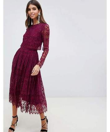 Asos Design Lace Long Sleeve Midi Prom Dress Burgundy