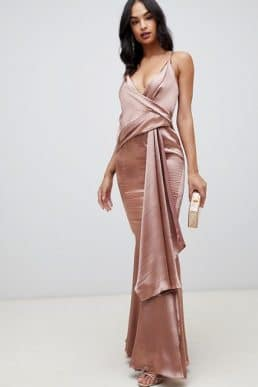 ASOS DESIGN maxi dress in high shine satin drape fishtail Mink