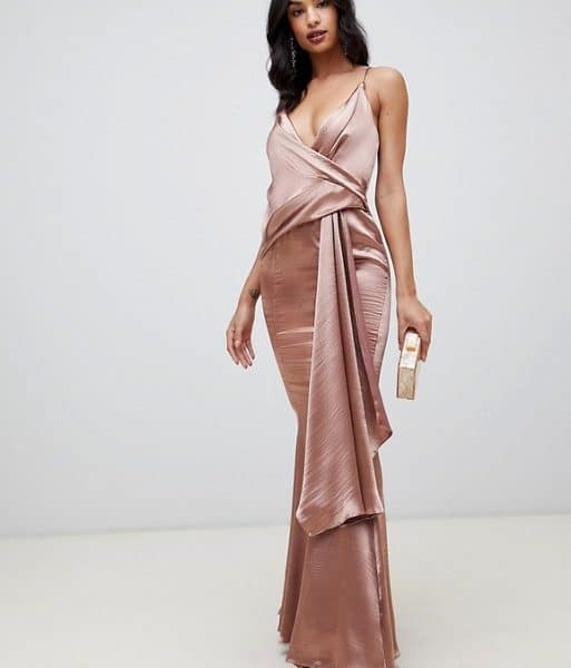 281fb826 ASOS DESIGN maxi dress in high shine satin drape fishtail, Mink ...