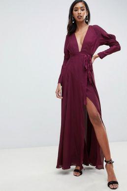 ASOS DESIGN maxi satin dress with sleeves Plum Purple
