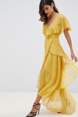 ASOS DESIGN maxi dress with cape back and dipped hem Yellow