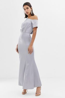 ASOS DESIGN maxi dress with drape one shoulder in satin Silver