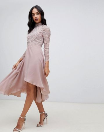 ASOS DESIGN midi dress with long sleeve embellished bodice mink