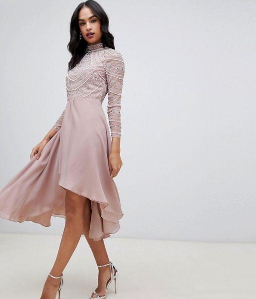 bbb95d6af29 ASOS DESIGN midi dress with long sleeve embellished bodice mink. ASOS DESIGN  midi dress with long sleeve embellished bodice mink