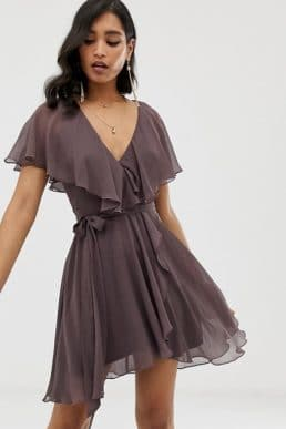 ASOS DESIGN mini dress with cape back and dipped hem, Dusty Purple