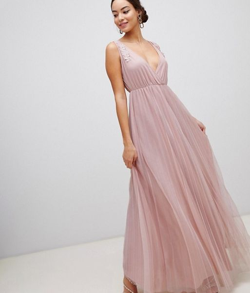 adfe4d532c4 ASOS DESIGN Pleated Tulle Maxi Dress with Applique Lace Trim Blush Pink