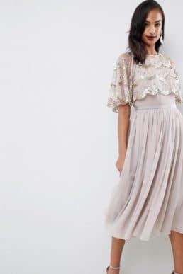 0c72f7ac22854 ASOS DESIGN scallop hem embellished crop top midi dress Light grey