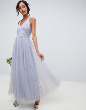 ASOS DESIGN soft tulle maxi dress dusty lilac