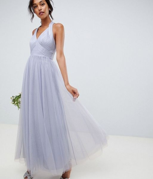 24d58cea9f ASOS DESIGN soft tulle maxi dress, dusty lilac | myonewedding.co.uk