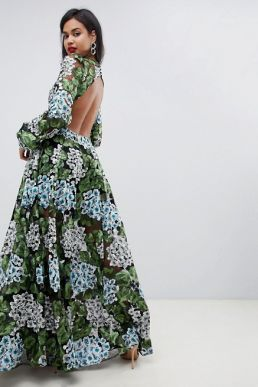 ASOS EDITION embroidered maxi with blouson sleeve & open back Green Blue
