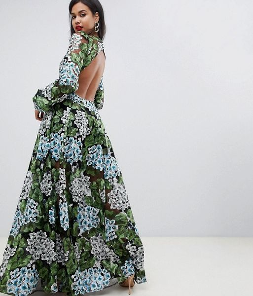 27bdf8ce5108e ASOS EDITION embroidered maxi with blouson sleeve   open back Green Blue. ASOS  EDITION embroidered maxi with blouson sleeve   open back Green Blue