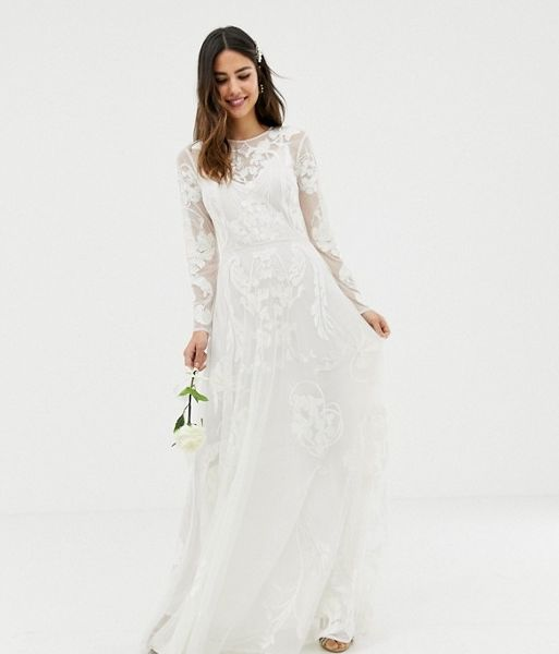 Asos Edition Nouveau Embroidered Wedding Dress Ivory