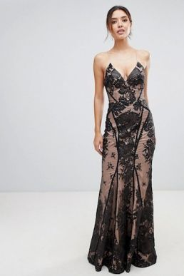 Bariano all over lace cami maxi dress with strappy back black Nude