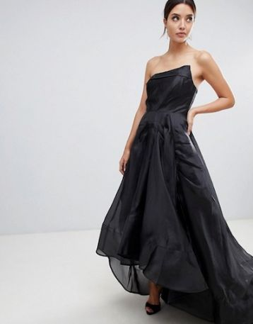 Bariano Full Maxi Dress With Origami Bust Detail Black