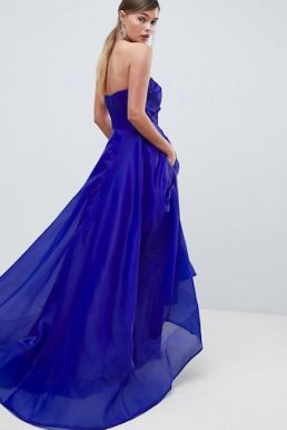 Bariano Full Maxi Dress With Origami Bust Detail Cobalt Blue