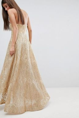 Bariano High Low Bandeau Maxi Dress In Metallic Jacquard Gold