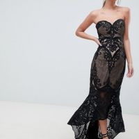 Bariano Sweetheart Fishtail Maxi Dress In Lace Black Nude