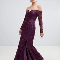 Bariano sweetheart neck lace maxi dress plum purple