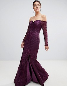 Bariano sweetheart neck lace maxi dress plum purple