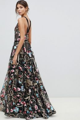 Bronx and Banco agata embroidered gown Black Multi