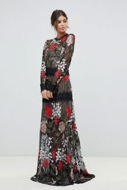 Bronx and Banco bonita embroidered maxi dress Black red