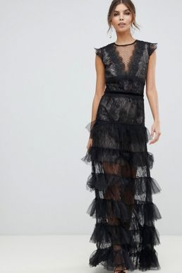 Bronx and Banco Lace Tulle Maxi Dress Black
