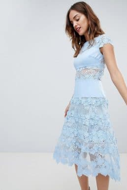 Bronx & Banco Applique Midi Sky Dress Pale Blue