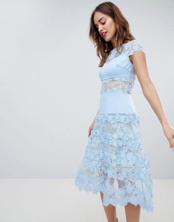 Bronx & Banco Applique Midi Sky Dress Pale Blue