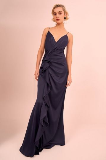 C/meo jagged waterfall gown Navy blue