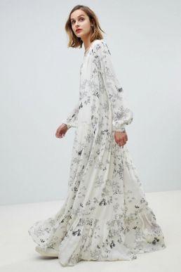 Essentiel Antwerp floral maxi dress Off white Black