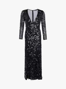 French Connection Helena Sequin V-Neck Maxi Dress Black