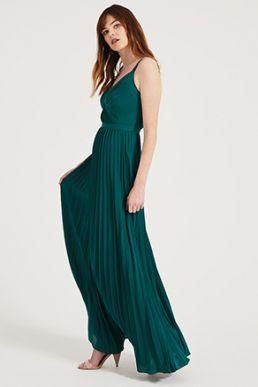 Phase Eight Giovanna Pleated Maxi Bridesmaid Dress Green