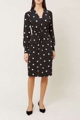 Hobbs Farah Sleeve Shift Sput Print Dress Black White