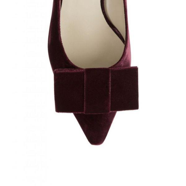 Hobbs Velvet Luna Court Shoe Burgundy
