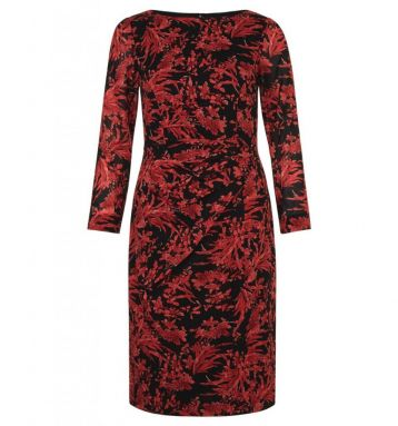 Hobbs Sacha Sleeve Print Dress Black Red