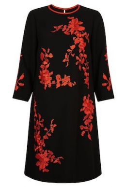 Hobbs Sunny Floral Print Sleeve Dress Red Black